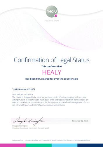 Healy FDA -Certificate of Approval-EN